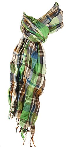 Herren Crinkle Schal blau grün braun weiss 100% Baumwolle