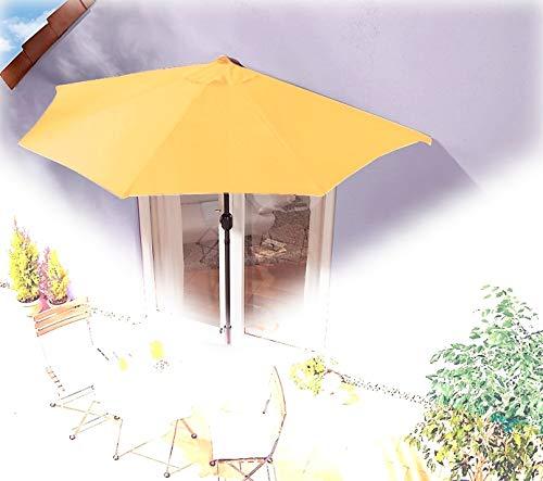 IMC Sonnenschirm halbrund gelb-orange Balkon mit Kurbel Wandschirm Marktschirm Balkonschirm Sonnenschutz Halbschirm halb