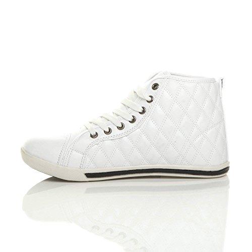 Taille De Baskets Femmes Matelassé Sport Plate Blanc Chaussures wXT51qF