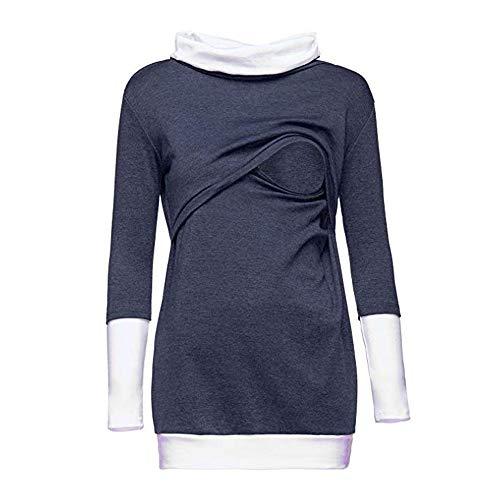 Topgrowth felpa donna premaman manica lunga maternità camicetta a doppio strato bluse sweatshirt allattamento patchwork camicetta autunno