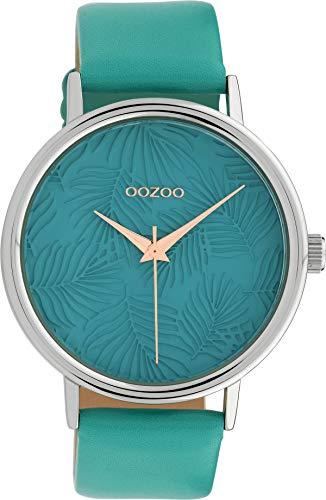 Oozoo Damenuhr mit Blätter Palmen Muster Zifferblatt und Lederband 42 MM Türkis/Türkis C10080