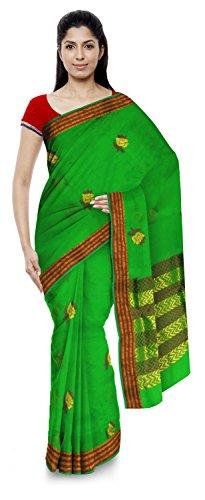 Kota Doria Sarees Handloom Women's Kota Doria Handloom Cotton Silk Saree With Blouse Piece (Green)