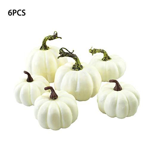 (realistische Herbst Mini künstliche Kürbisse cremig weiß kleine gefälschte Kürbisse Halloween Dekoration für Zuhause Herbst Ernte Thanksgiving Partei begünstigt Ornamente - 6pcs)