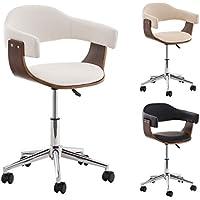 CLP Sedia da ufficio BRÜGGE, sedia da ufficio con scocca in legno e fodera in similpelle, altezza seduta 46 - 57 cm bianco