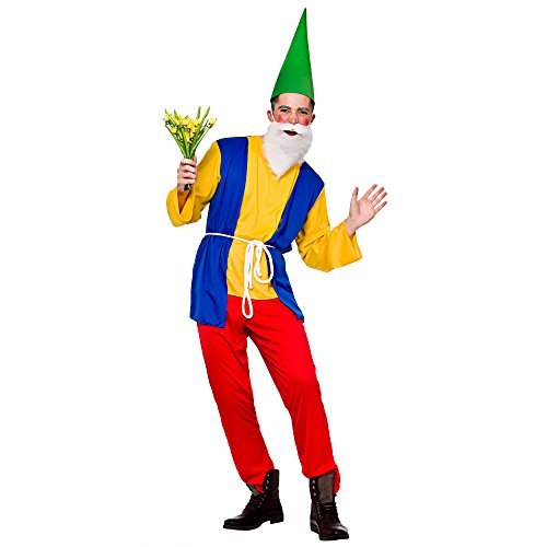 """Adults Mens Funny Gnome Costume for Garden Elf Dwarf Orc Goblin Fancy Dress Small Chest Size 37"""""""
