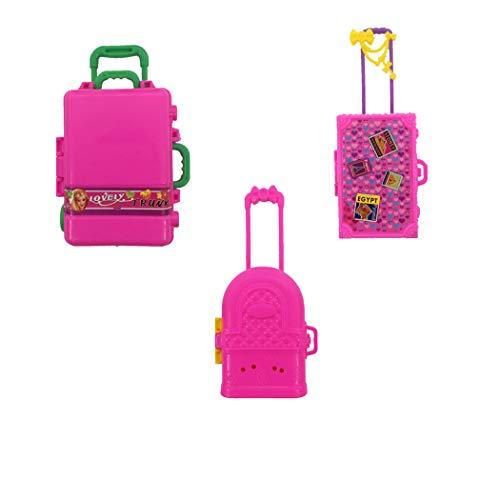 3 Pezzi Doll Mini Valigia, Accessori per Barbie Doll House Miniature Mini Valigia da Viaggio Valigie Modello Prop Accessori Giocattolo per Barbie Bambini Ragazze Regalo