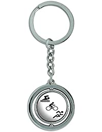 Triathlete Swim Bike Run Triathlon Spinning Round Metal Key Chain Keychain Ring