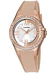 Calypso–Reloj de cuarzo para mujer con correa de plástico de plata esfera analógica pantalla y oro rosa K5680/2