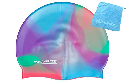 Aqua Speed® Set - BUNT Badekappe + Kleines Mikrofaser Handtuch | Silikon | Bademütze | Badehaube | Schwimmhaube | Erwachsene | Damen | Herren | Kinder, Kappen Designs:08. Bunt / 51