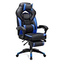 SONGMICS Gaming Chair, Office Racing Chair with Footrest, Ergonomic Design, Adjustable Headrest, Lumbar Support, 150 kg Weight Capacity