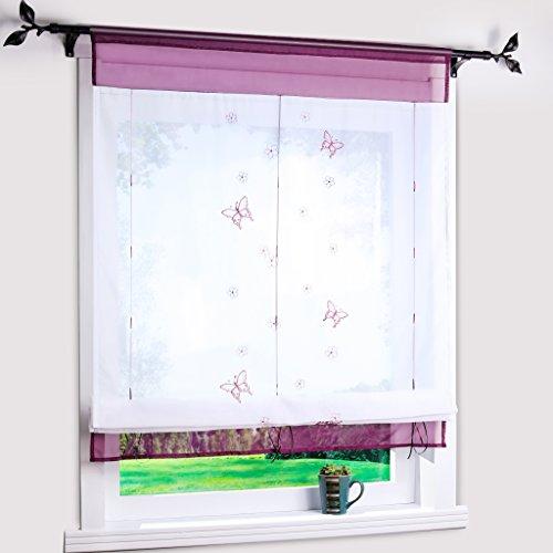 Bändchenrollo mit Besticke Schmetterlinge Transparent Raffgardinen Raffrollo Violett BxH 100x140cm