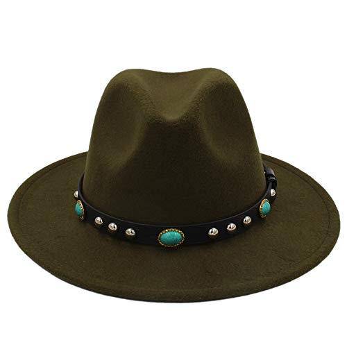 Fang-hats shop, Fedora-Hut für Damen, modisch, Vintage-Hut mit Schmuck-Wolle, Fedora-Hut, Bohemia-Wollfilz-Hut, grün, 55-58 cm
