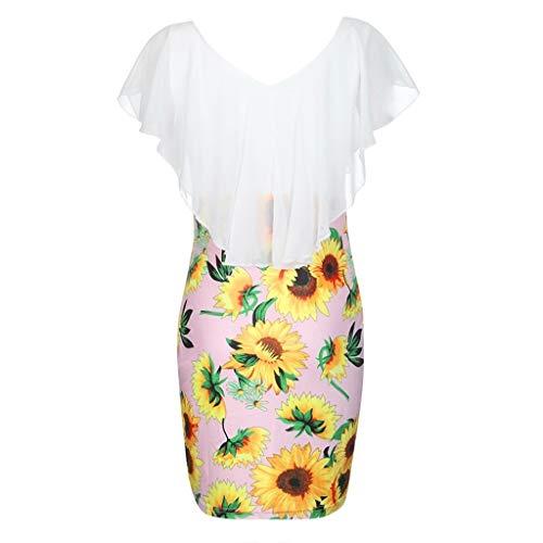 DIPOLA Damen Sexy Sunflower Print Tasche Hip Ruffle Kleid Holiday Party Short Minikleid (Schwarz, Weiß, Navy, Pink)