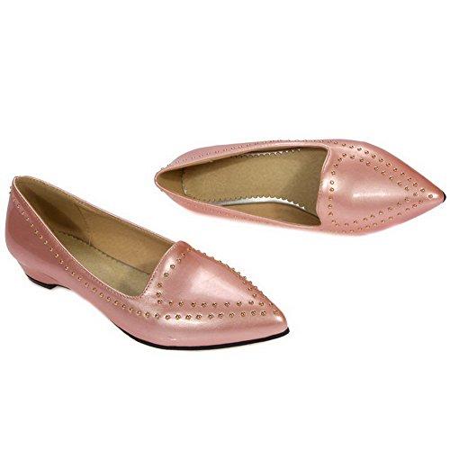 AgooLar Femme Mosaïque Verni à Talon Bas Tire Pointu Chaussures Légeres Rose