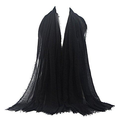 UJUNAOR Baumwolle Leinen Schal Muslim Solide Damen Islamischen Hanfstoff Kopftuch Kopfbedeckungen 180 * 90CM(E,One size)