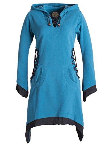 Vishes - Alternative Bekleidung - Langarm Lagenlook Elfenkleid aus Eco Fleece mit Schnürung und Zipfelkapuze türkis 36