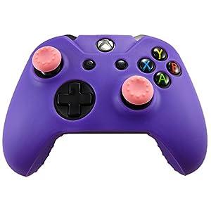 Pandaren® Silikon hülle Skin Schutzhülle für Xbox One Controller (lila) x 1 + Thumb Grip aufsätze x 2