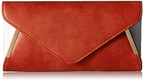 BMC Damen Lasche, aus PU-Leder, aus Metall, Weiß-Accent Fashion Clutch-Handtasche Hellorange