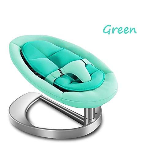 GUOJIUXIAO Baby Schaukelstuhl, Krankenpflege Baby Schlafkrippe Hochwertige Neugeborene Trampolin Tragbare Schaukel Multifunktions Silent Cradle Crib Chair,Green,Plasticbase (Stecker Für Baby-schaukel)