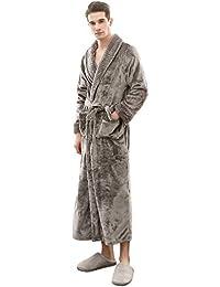 H HIAMIGOS Robes de Chambre Longue pour Femme Homme Peignoir de Bain Éponge  Unisexe Kimono col V Pyjama Long Vêtements de… 96fd41cd47f1