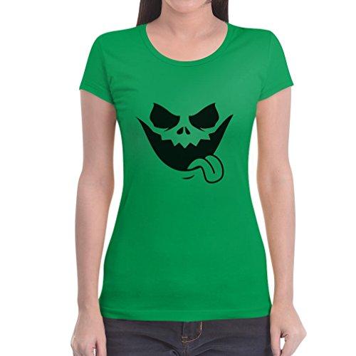 Halloween Jack O' Lantern Kürbis Gesicht Frauen T-Shirt Grün