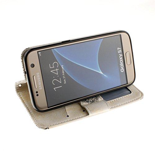 ANNN® Samsung Galaxy S6 Coque PU Cuir Flip Housse Étui Cover Case(Retro nationale Fleur)Portefeuille Supporter avec Fonction Stand et Fentes de Carte de Crédit + Quill stylet + Pendentif poisson---A05 A03