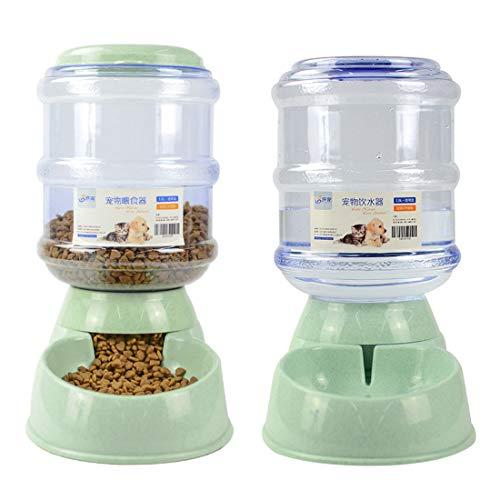 Pinji Lot de 2 Fontaine à Eau Automatique Distributeur de Nourriture Aliment pour Chien Chat Vert