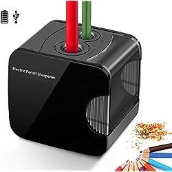 Sacapuntas de lápiz eléctrico, accionado por USB o con pilas Sacapuntas de lápiz electrónicos automáticos resistentes para no.2 y lápiz de color