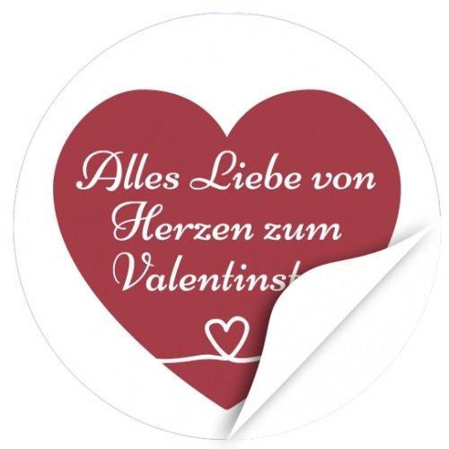 48 moderne Design Etiketten, rund / Herz Mit Text zum Valentinstag / Valentinstag / Liebe / Herzen / Hochzeit / Geschenk-Aufkleber / Sticker /