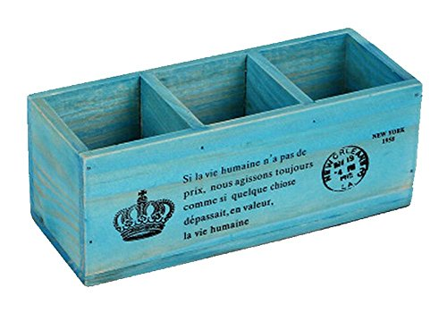 3 Raster Holz Topf/pflanzkübel für Haus und Büro Dekoration, blau