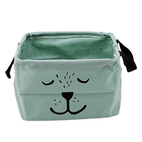 HENGSONG Cartoon Praktische Aufbewahrungsbox Korb Kosmetik Koffer Make-up Tasche Spielzeug Ablagebox Desktop Organizer für Haus Kinderzimmer Büro Aufbewahrung (Grün)