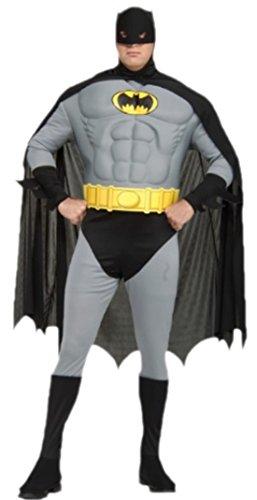 Zauberclown - Herren Kostüm Batman mit Muskeltop, Hose mit integrierten Überziehstiefeln, Gürtel, Kopfteil und Umhang, 3XL, (Hose Wonder Woman Kostüm)