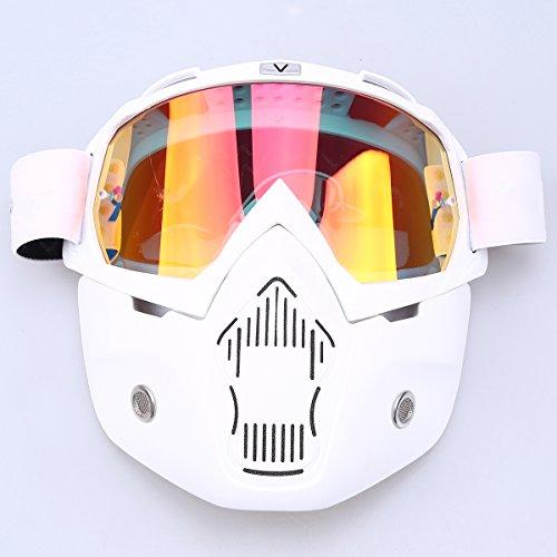 POSSBAY Motorrad Schutzbrille Anti-Fog Brille + abnehmbar Gesichtsmaske winddicht für Outdoor Fahrrad Dirtbike Motocross Off-Road Goggle
