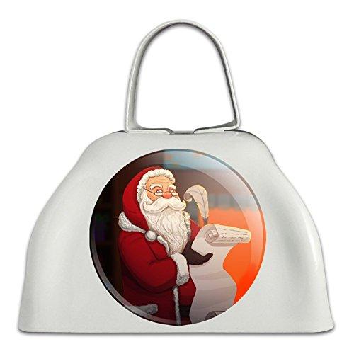 Santa Claus Weihnachten Liste weiß Metall Cowbell Kuhglocke Instrument (Bell Von Santas Schlitten)