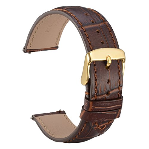 WOCCI Quick Release Uhrenarmbänder 20mm Braun Alligator Geprägt Leder Armbanduhr Bands mit Gold Schnalle (Kalb Braun Leder)