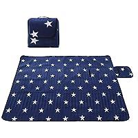 Uworth Estrella Portátil Manta de Picnic Alfombra Impermeable Plegable para Camping Playa Jardín 200 x 200 cm Azul