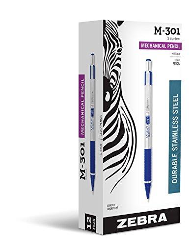 Zebra M-301Druckbleistift aus Edelstahl, 0,5mm, blauer Schaft, 12Stück (54020) (Zebra Druckbleistift 301)