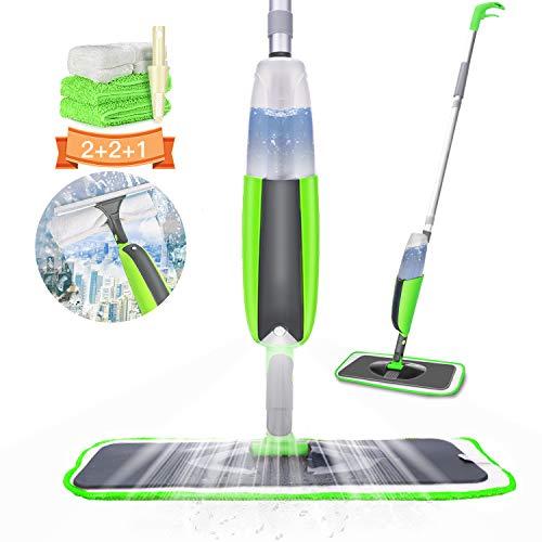 Aiglam mocio con spruzzatore, spray mop in microfibra orientabile a 360 gradi per pavimento e finestra con 4 cuscinetti riutilizzabili e spazzolone per legno duro, marmo, laminato, piastrelle