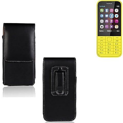 Funda para Nokia 225 Dual SIM, la bolsa de cinturón de cuero de imitación de alta calidad en color negro   elegancia funcional simple llano. Teléfono Móvil Funda Caso bolso cruzado bolsillo clip de transporte vertical de la cubierta del bolso