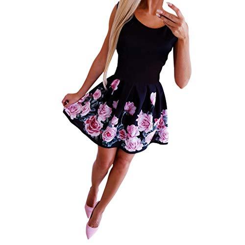 Kleider Sommer,Viahwyt Damen Schulterfrei Sommerkleid Minikleid Partykleid Cocktailkleid Ärmellos Freizeit Minirock Kurz Strandkleid Boho Kleid Mode Sexy Rundhals Rose Printed Kleid(Schwarz,M)
