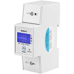 Compteur d'Énergie Monophasé 5-80A 230V 50Hz Compteur d'Énergie Monophasé de Rétroéclairage LCD, Compteur KWh Montage sur Rail DIN DDS015, Mètre Watt KWh(230V 5-80A 50Hz)