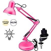 Flexo Serie Antigona Articulable Rosa Con Bombilla LED