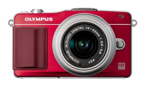 Olympus PEN E-PM2 Fotocamera Mirrorless 16 MP, Kit con Obiettivo M.Zuiko 14-42mm f1:3.5-5.6 II R e FlashAir Card 8GB, Rosso