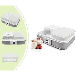 Leogreen - Yaourtière, Machine pour Yahourt Naturel, Bol à yaourt avec tamis et 6 pots, minuteur, 30,6 x 25 x 12,4 cm, Blanc, Capacité par pot: 0,21 L, Capacité du conteneur: 1,5 L