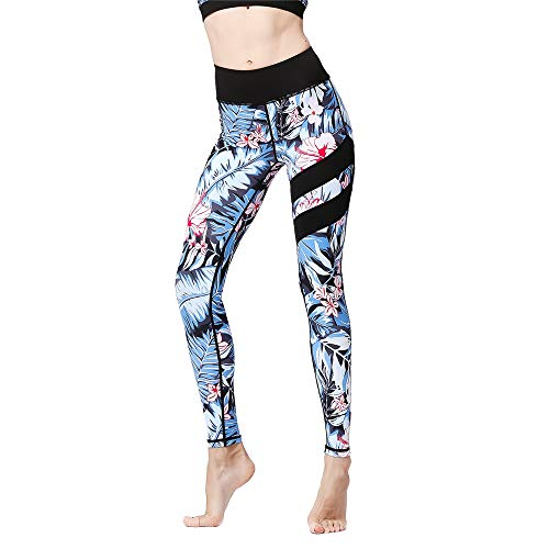 Loeay Damen Sport Leggings Yoga Capris Pants Floral Printed Slim Sexy Training Running Workout Kompressionshose Gr. L, g Floral Capri Cropped Pants