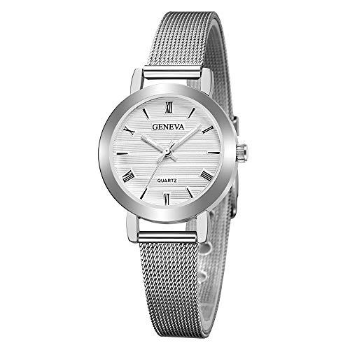 LSAltd Frauen Edelstahl Mesh Band Armbanduhr, Damen Uhr (L) -