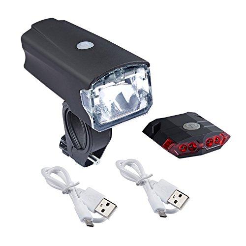 Akale Wiederaufladbare LED Frontlicht und Rücklicht Für Radfahren, 40lux , 4 Licht-Modi, Fahrradscheinwerfer, Fahrradlicht, Fahrradlampe Set (2 USB-Kabel )