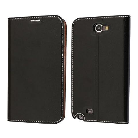 Samsung Galaxy Note 2 Hülle, Mobest Galaxy Note 2 Lederhülle, Ledertasche Handyhülle Wallet Brieftasche Tasche Schutzhülle mit Kartenfach Standfunktion für Samsung Galaxy Note 2 - Schwarz