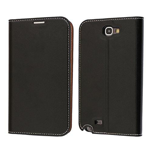 Coque Samsung Galaxy Note 2, Mobest Étui Housse en Cuir Galaxy Note 2, Portefeuille Folio Coque de Protection avec emplacement de cartes, Option Stand Pour Samsung Galaxy Note 2 Coque Cuir - Noir