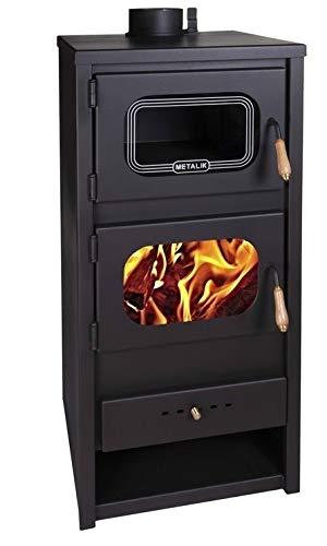 Estufa de leña de Metalic con horno quemador de leña, chimenea para...